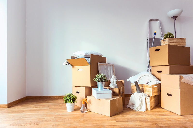 Move. Cardboard boxes and cleaning things for moving into a new home, local movers